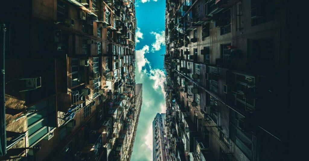 Hong Kong apartment high rise looking up at the sky