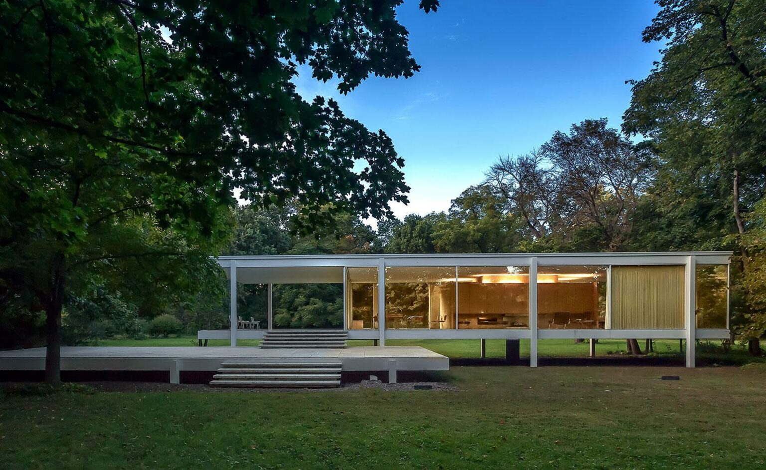 The Farnsworth House designed by Mies van der Rohe