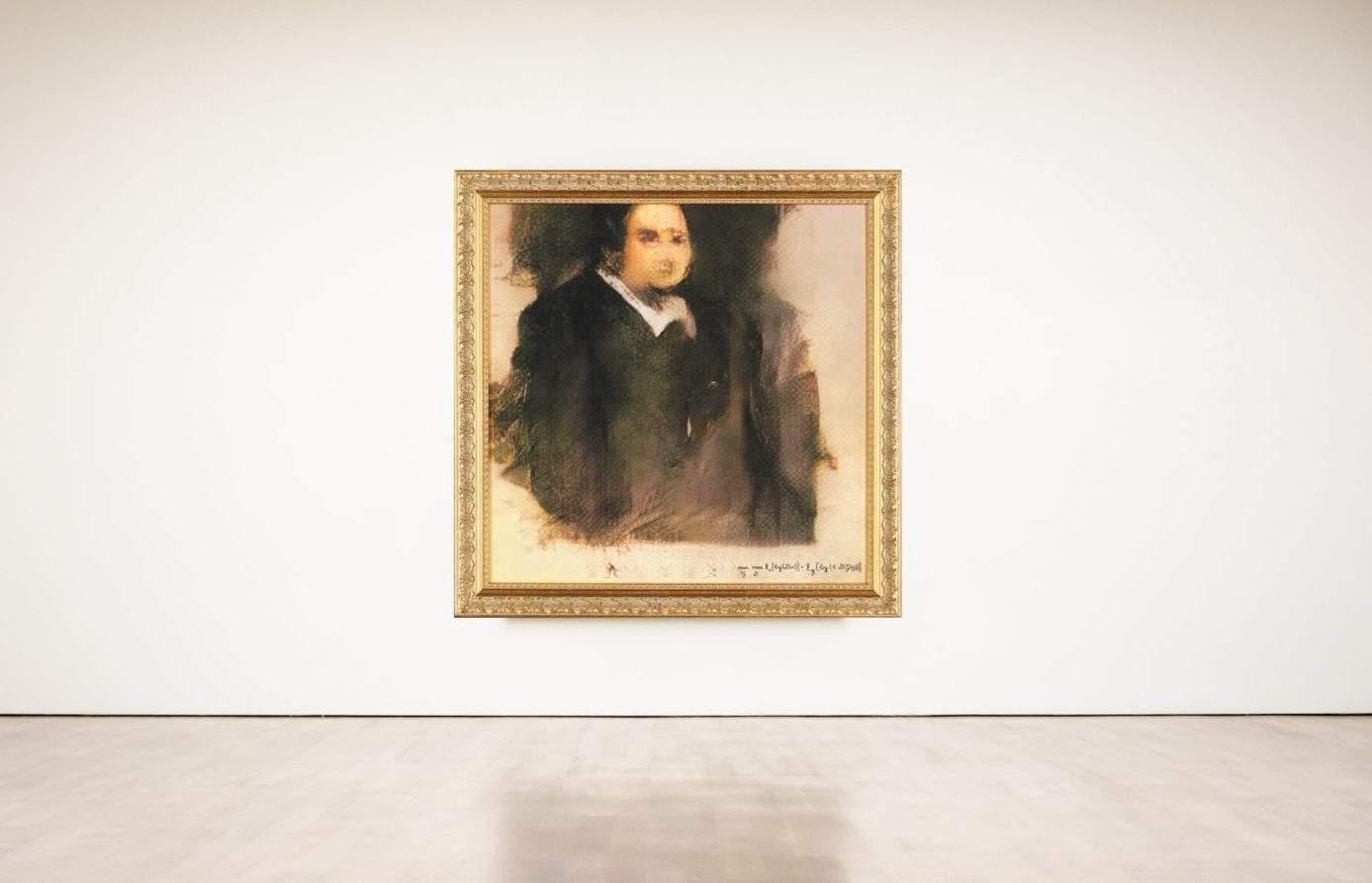 Robbie Barrat AI art Christies Portrait of Edmond Bellamy