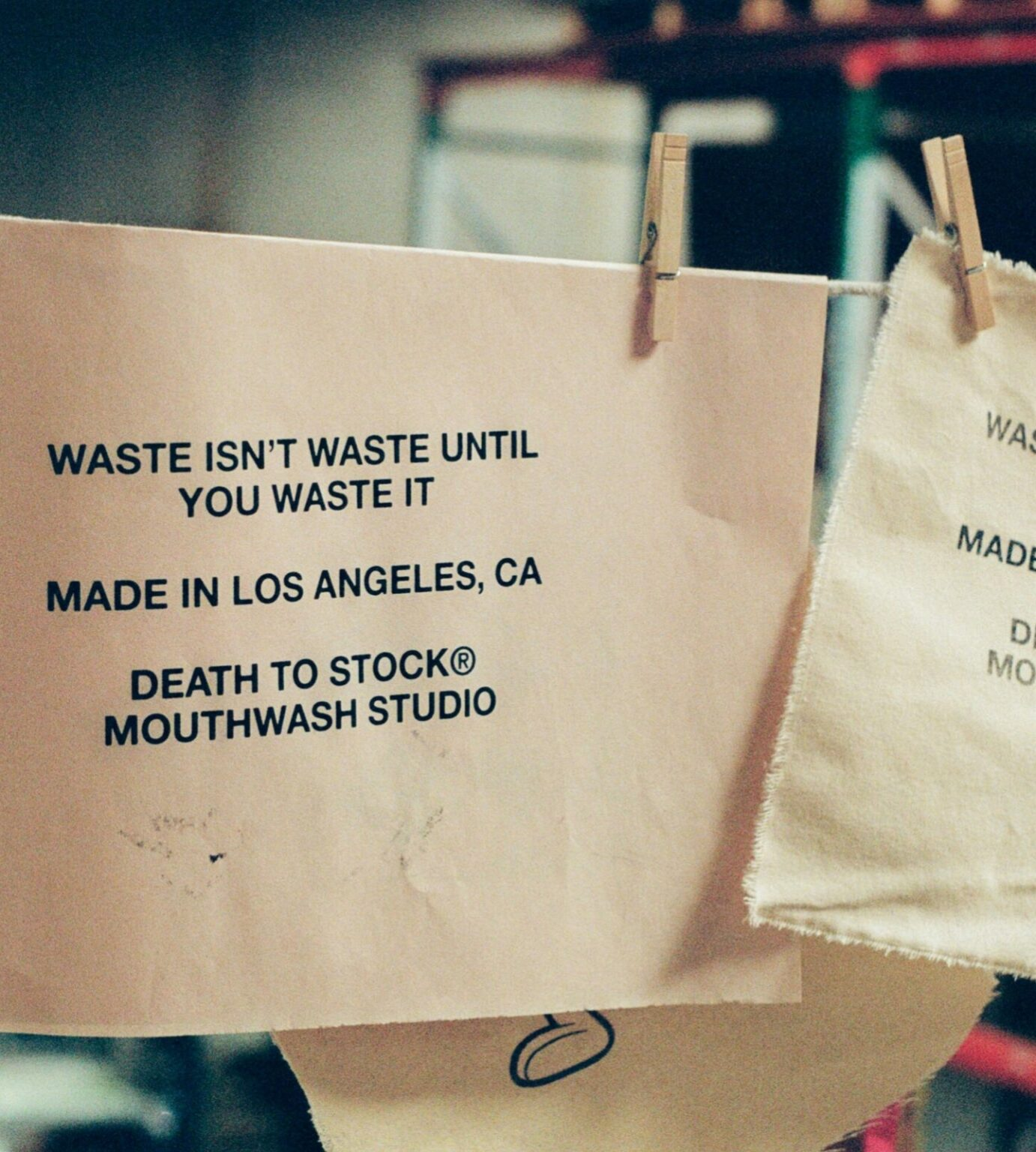 waste is not waste until you waste it flag with clothespins