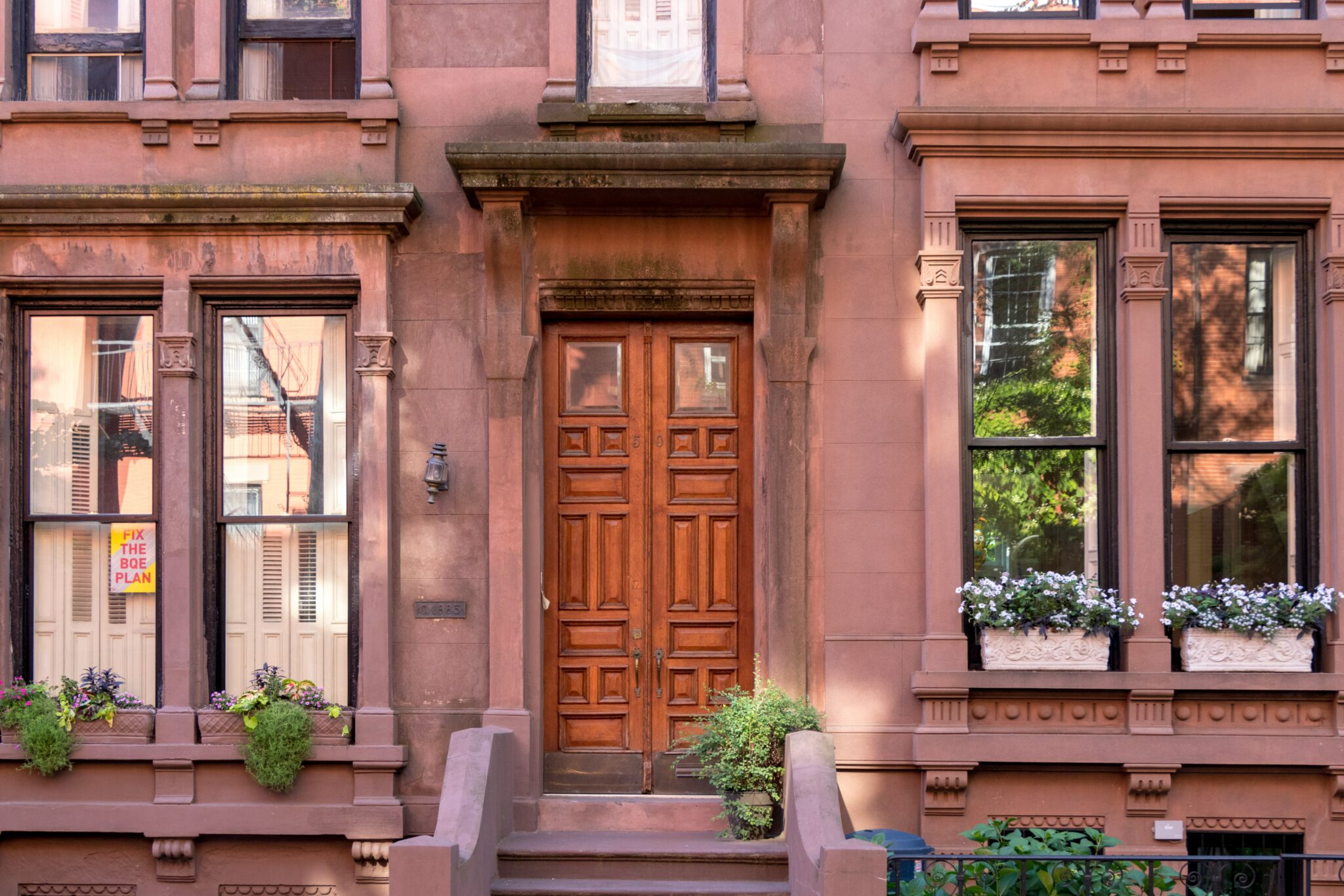 Brooklyn Brownstone Door and windows and front steps