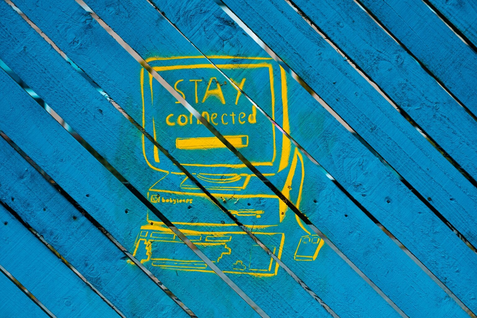 Stay connected painting on wood slats