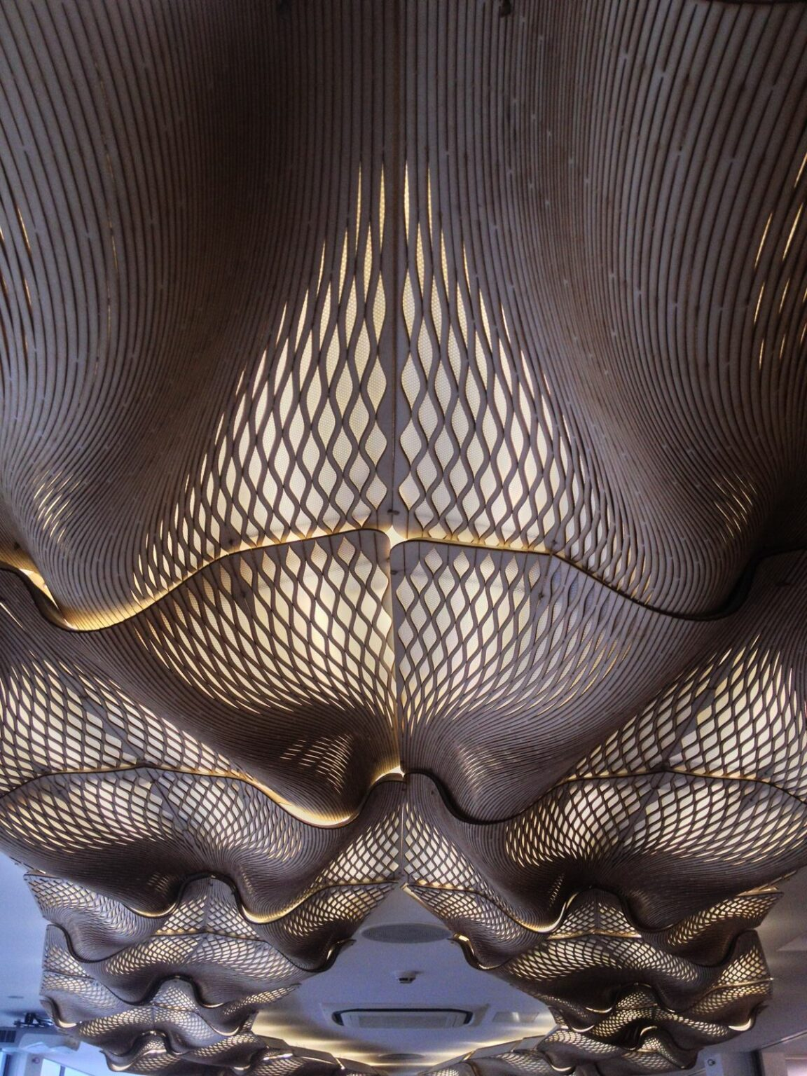 Mamou-Mani's Wooden Waves - a human-AI collaboration - is made of plywood lattice.