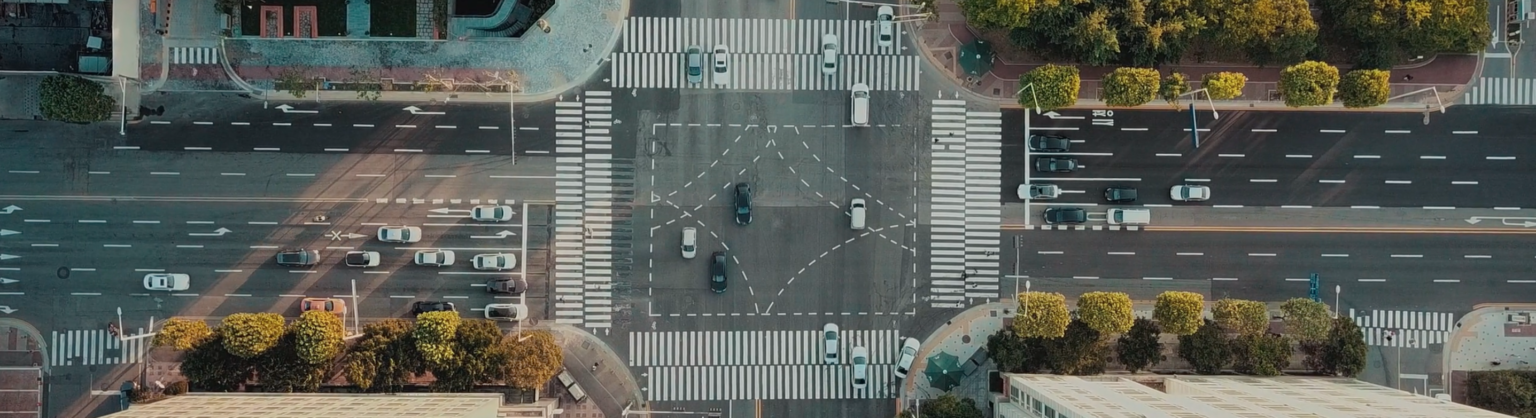 aerial view city crosswalk