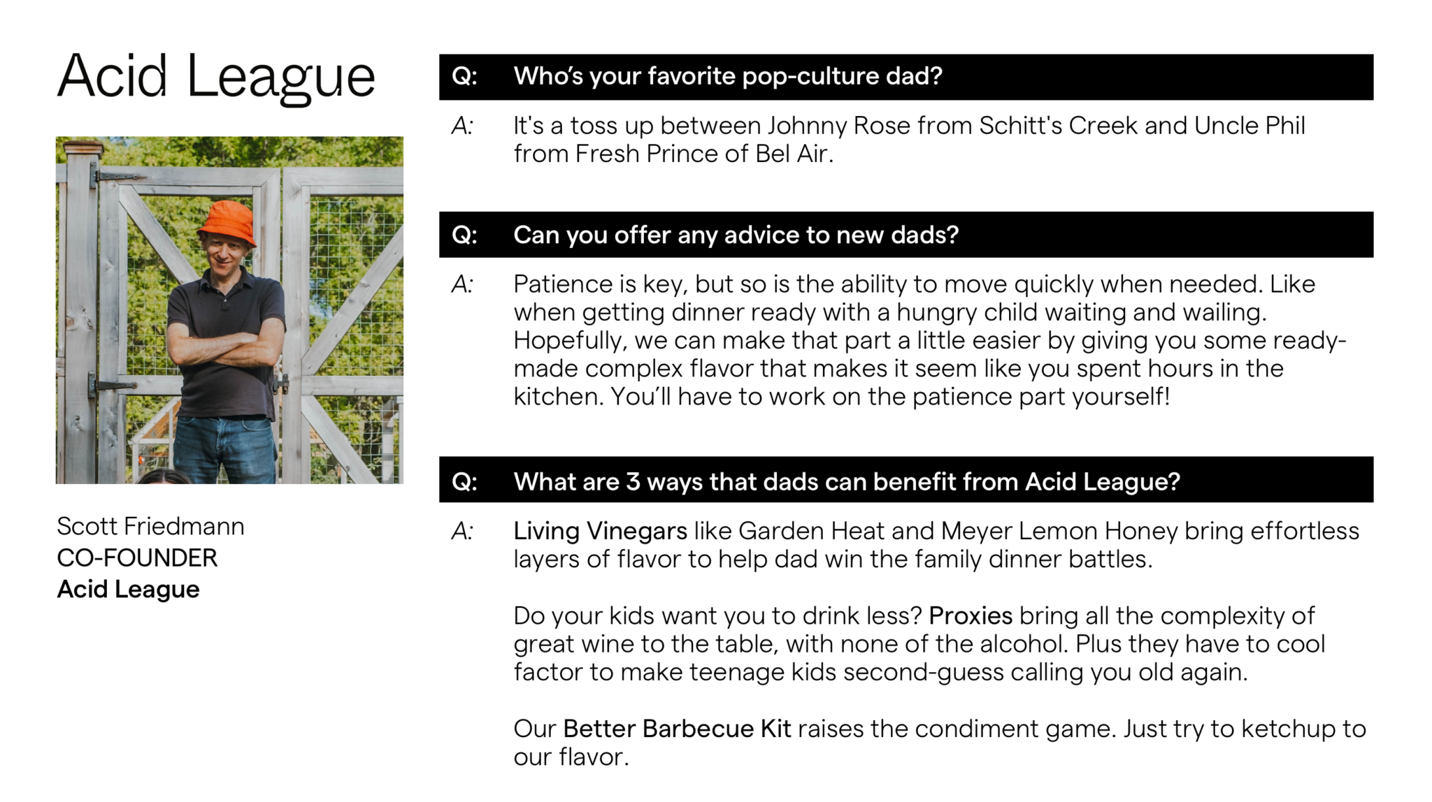 Scott Friedmann Acid League Founder Advanced Essentials Father's Day Gift Guide