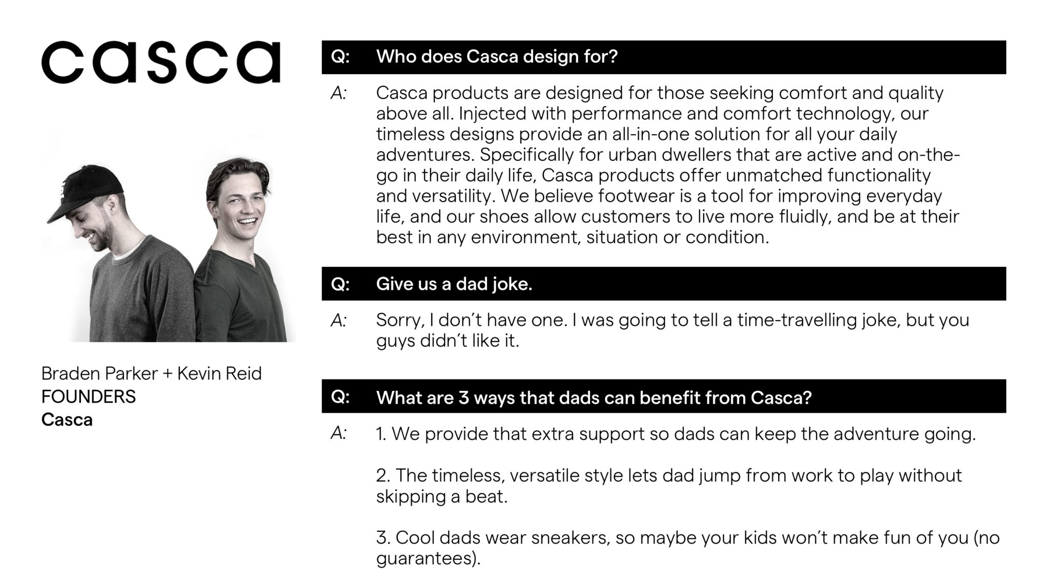 Bradem and Kevin Casca Founder Advanced Essentials Father's Day Gift Guide