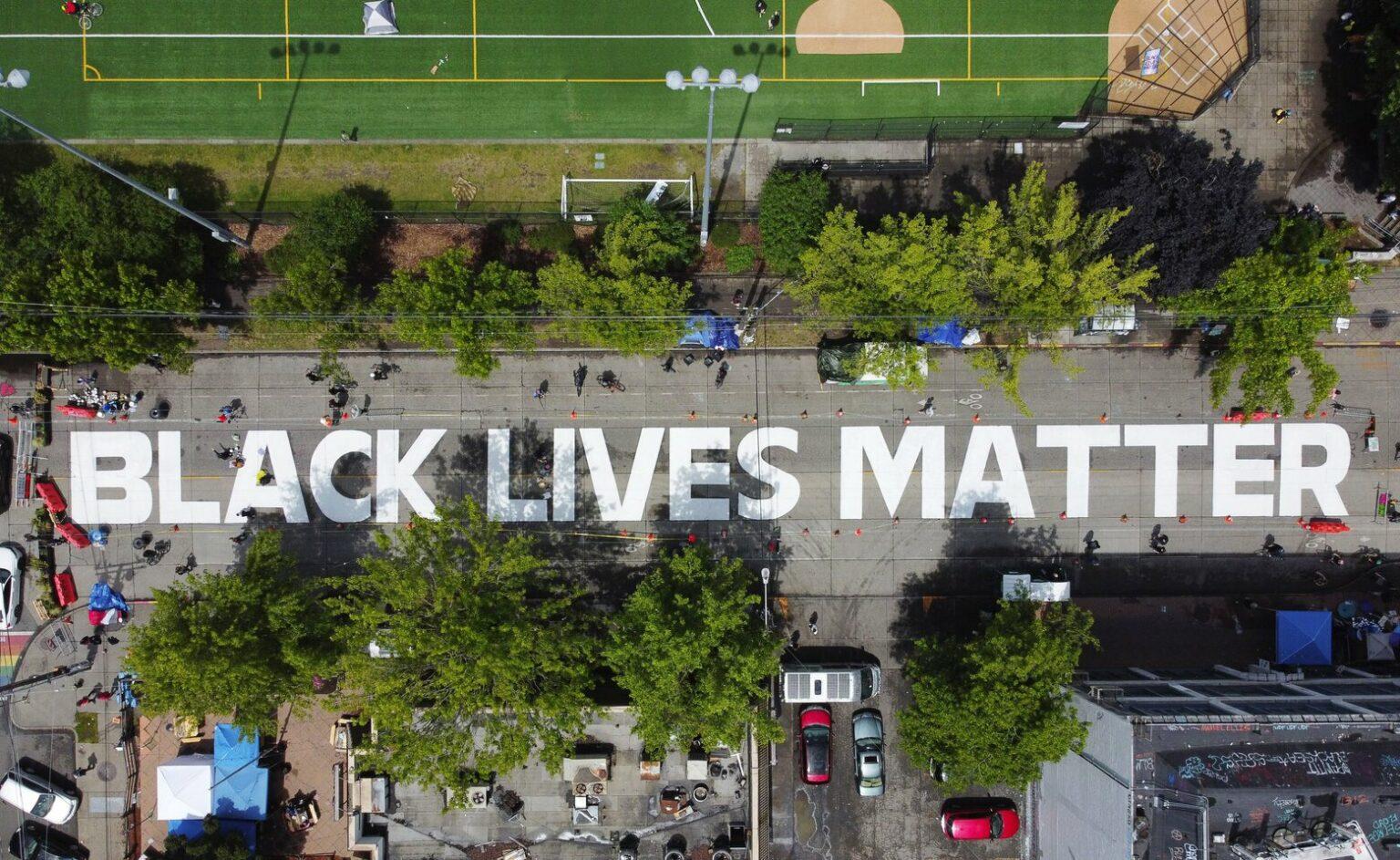 White Black Lives Matter Mural