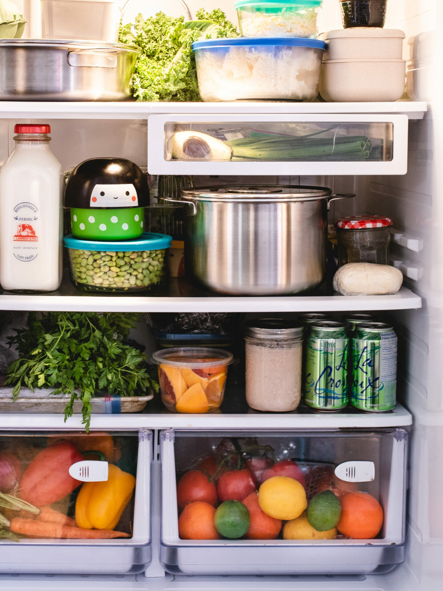 Stainless steel cookware in refrigerator