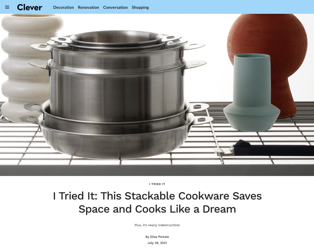 Architectural Digest Clever review Stackware ENSEMBL's stainless steel cookware