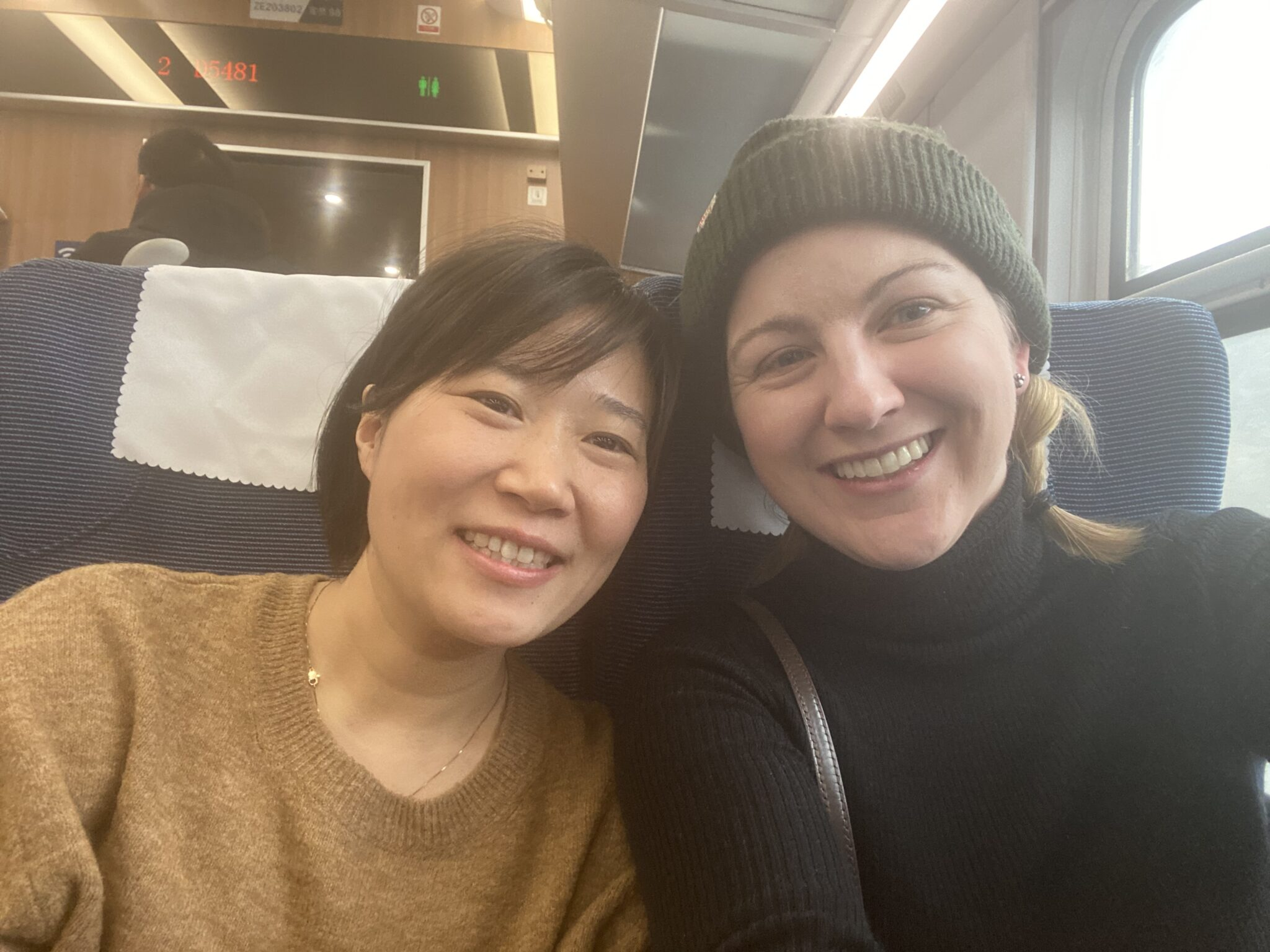 Two women smiling on train