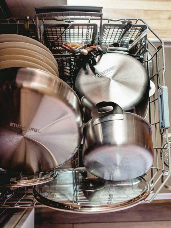 Stainless steel cookware in dishwasher
