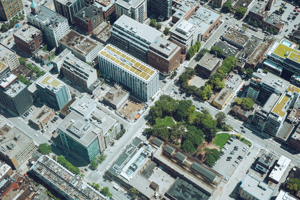 aerial cityscape with trees
